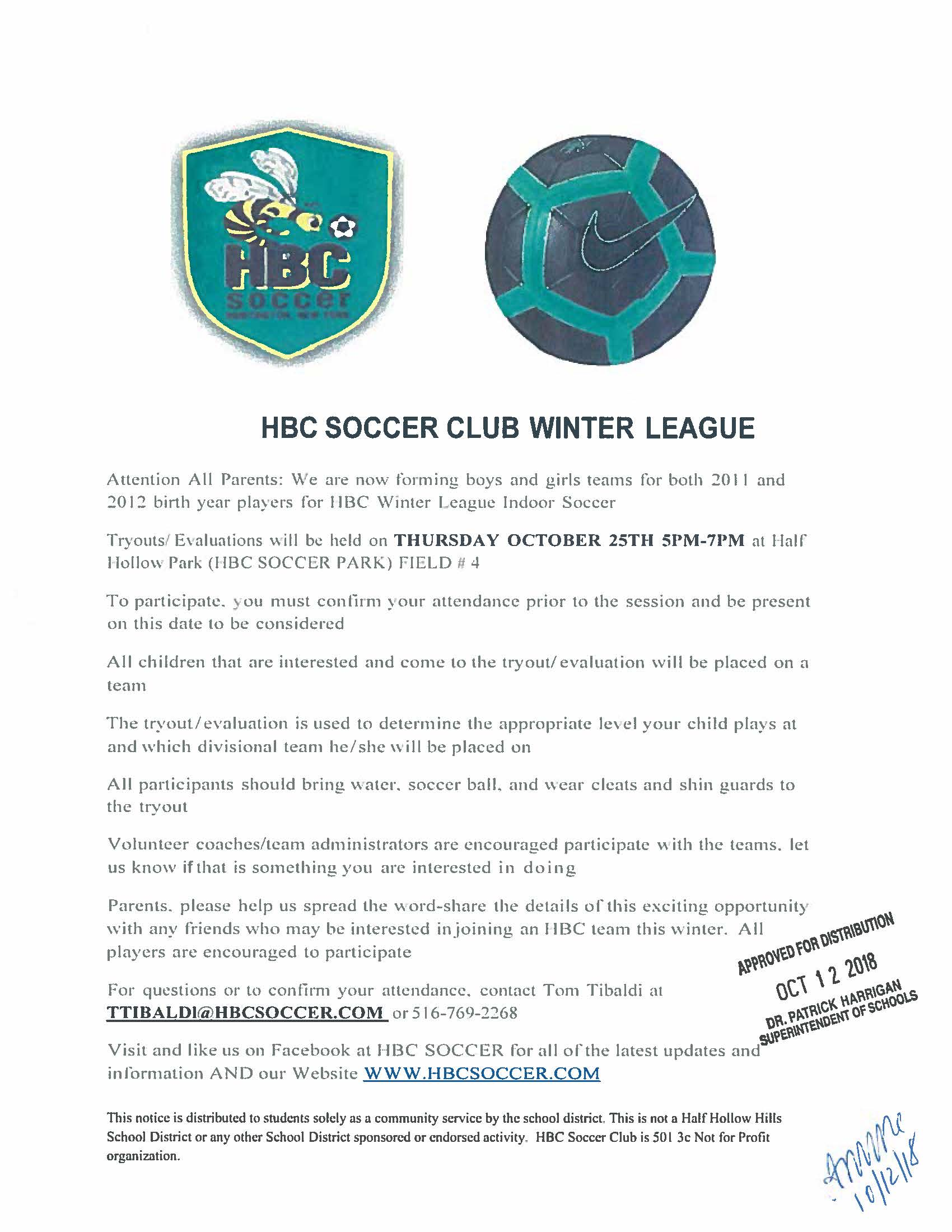 12c40a0e54f ... soccer world  HBC WINTER LEAGUE PLAY FOR FOR 2011 AND 2012 BOYS AND  GIRLS